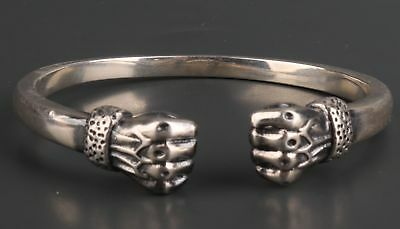 S925 Fine Solid Silver Men And Women Hand Power Statye Bracelet Christmas Gift