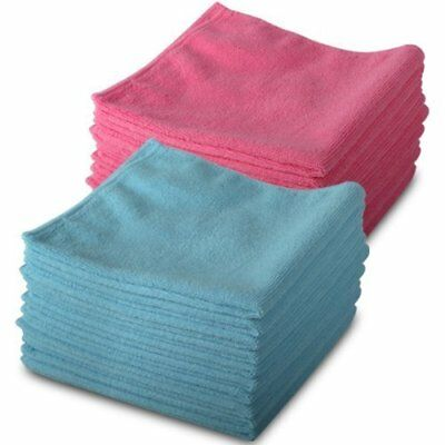 20 Pack Of Genuine Exel 10 Pink   10 Blue Microfibre Magic Cleaning Cloths. Chem