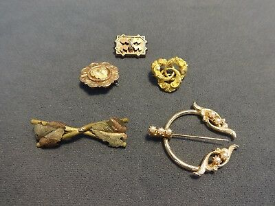 Vintage Lot of 5 Brooches/Pins Gold Tone Faux Pearl Mixed Designs