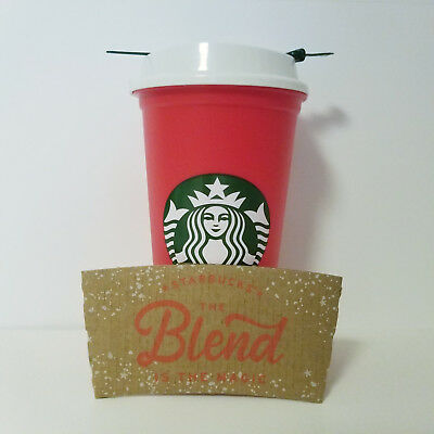 1 Starbucks 2018 Limited Edition Red Reusable 16oz Traveler Drinking Cup XMAS
