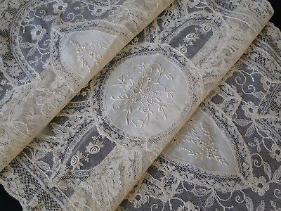 Antique Lace- Circa 1920, Fine French Normandy Lace Table Runner