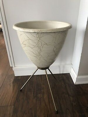 Vintage Mid Century Bullet Planter on Metal Tripod Stand 50's 60's