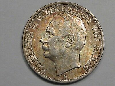 1914-G German Empire, Baden Germany 3 Mark Coin.  #6