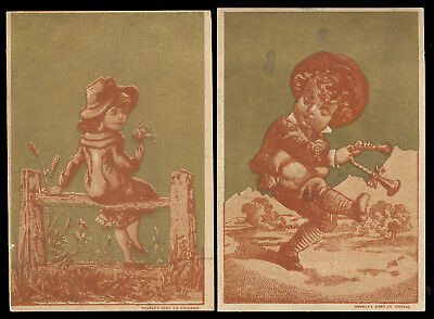 2 CHICAGO, IL TRADE CARDS, AMERICAN SEWING MACHINE CO. at 244 WABASH Ave.  k307
