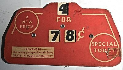 VINTAGE 1939 ADVERTISING SALES PRICE SIGN - CARDBOARD with moveable pricing