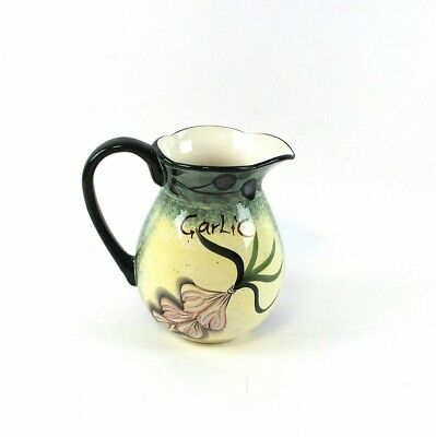 """Olive & Garlic Hand Painted Ceramic Pitcher (9"""" Tall) - 801247"""