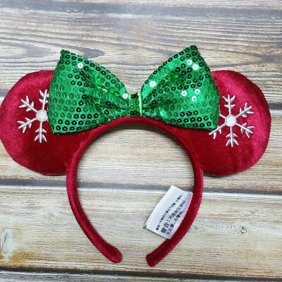 New Disney Parks Red SNOWFLAKE Holiday Mickey Minnie Ears Sequin Bow Headband