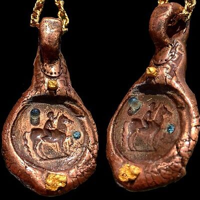$1685 Antique Ancient style Pure Copper Greek God pendant GOLD Ruby Diamond !!!!
