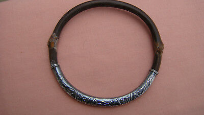 Antique Chinese Silver & Bamboo Bangle Bracelet - Signed