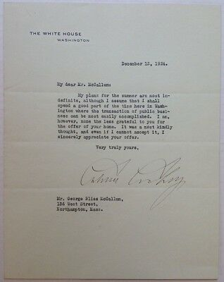 Calvin Coolidge 1924 Typed Letter Signed as President - White House Stationery