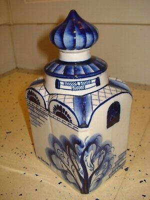 Rare Large Early Gzhel Russian Artist Signed Handpainted Blue & White Tea Caddy