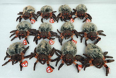"""Pack Of 12 New With Tag """"Hairy"""" Spider Beanie Babies TY Old Dealer Stock"""