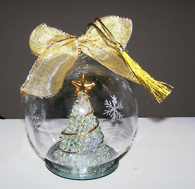 "Christmas Tree In 4"" Glass Globe Which Lights Up - Great Condition!!"