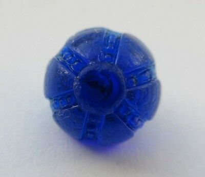 "Striking Antique~ Vtg Molded Cobalt GLASS BUTTON w/ Swirl Back 9/16"" (O12)"