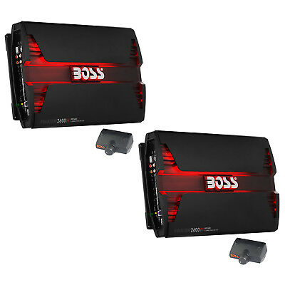 Boss Audio 2600W 4 Channel Car Audio Amplifier Power LED Amp+Remote (2 Pack)