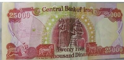 100,000 IQD (4) $25000 IRAQI DINAR Notes - AUTHENTIC - Uncirculated