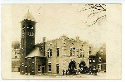 Old Barre Vt Fire Station Horses Dept Washington County Rppc Postcard Photo