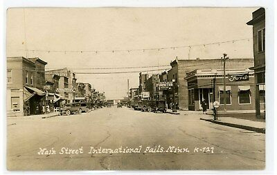 Old International Falls Mn Main St (Ford) Koochiching County Rppc Postcard Photo