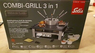 Raclette Tischgrill und Fondue Solis Combi Grill 3 in 1Type 796  NEU