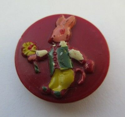 Darling Antique~ Vtg Early Plastic Picture BUTTON Hand Painted Bunny (O21)