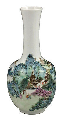 Beautiful Antique Chinese Famille Rose Porcelain Vase w/ Qianlong Mark