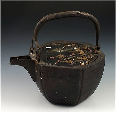 18th Cent Japanese Iron Teapot Tetsubin With /Painted  Lacquer Lid