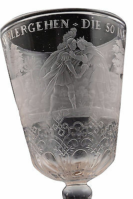 Antique 18th Century Highly Detailed Engraved Wine Stem Glass Goblet