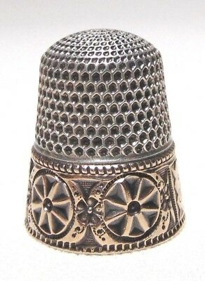 Stern Bros. sterling thimble with gold panel