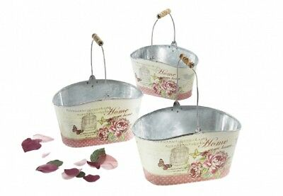 G2724: Flower Set of 3 Oval, with Roses and Carry Handle, Planting Bucket