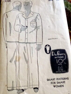 VTG 1930s MENS PAJAMAS Sewing Pattern CHEST 38