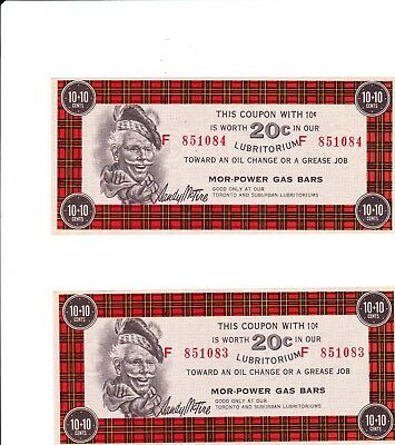 Canadian Tire 10 + 10  20 cent Lubritorium Coupons consecutive numbers vintage