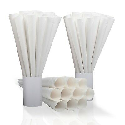 Ringmaster Case of 1000 Cotton Candy Cones White Kraft Paper Concessions