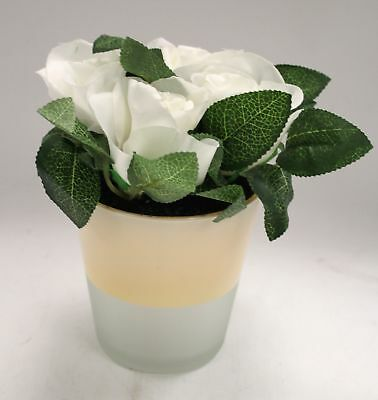 Artificial White ROSE LED Light up Flower in Plant Pot  - Y99