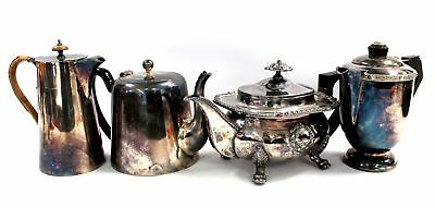 Set of 4 Vintage SILVER PLATED Assorted Style TEAPOTS  - C68