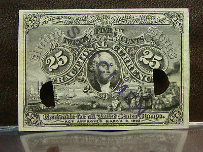 1863 2nd Second Issue 25 Cents Washington Fractional Currency Unc SPECIMEN