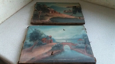 Pair Small Antique Japanese  / Chinese Oil Paintings - River Scenes - Damaged