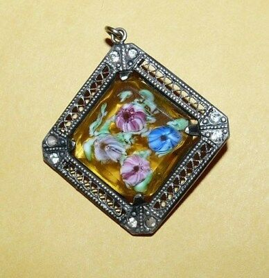~VTG~ANTIQUE~VICTORIAN~STERLING SILVER~AMBER~ART~GLASS~w/~CANE~FLOWERS~PENDANT~