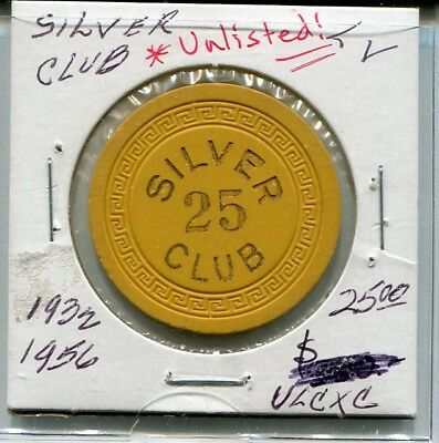"""RaRe  SILVER CLUB  $25  """" Downtown """"  VEGAS   """" Unlisted """"  SM KEY  LOW BOOK  ??"""