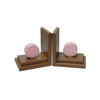 One World Circle Book Ends Pink and Chocolate Set of 2