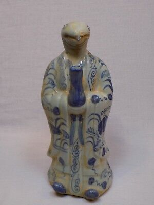 Snake Asian Chinese Japanese? Pottery Pitcher Teapot Blue White Serpent Dish