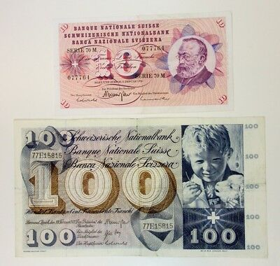 Switzerland. Banque Nationale. 2 Notes 10 & 100 Francs 1970 & 71 VF to XF Nice