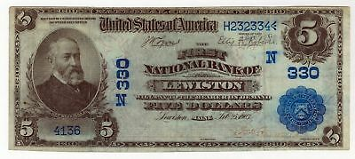 Maine, First National Bank of Lewiston $5 1902 DB VF but held in oily holder