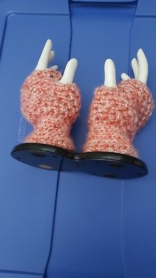 Womens Girls Fingerless Handmade Gloves Super Soft! Dark/Light Pink  Crochet