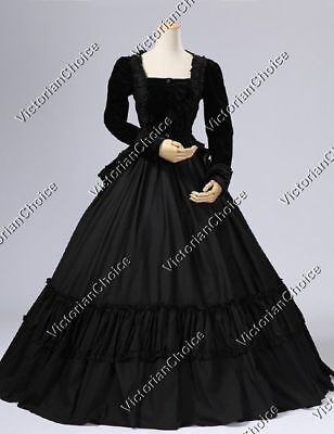 Victorian Maid Black Velvet Gown Dress Reenactment Steampunk Clothing 134 XXL