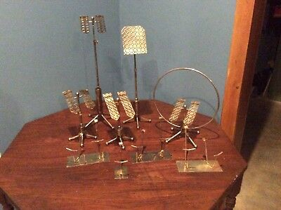 Rare and unique, 1950's vintage metal shoe displays, adjustable, brass plated