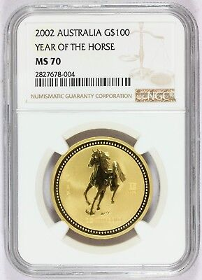 2002 Australia $100 Lunar Year of the Horse 1 oz Gold Coin - NGC MS 70