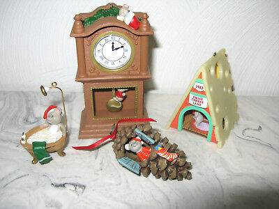 Lot of 4 Hallmark Christmas Mouse Mice Ornaments NO BOXES