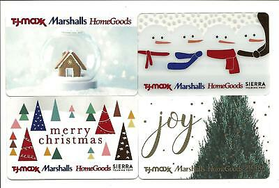 Lot of 4 Marshalls Homegoods TJ Maxx Gift Cards No $ Value Collectible Snowman