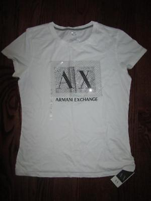 NEW Women's ARMANI EXCHANGE A/X Graphic Silver Sequin T Shirt Top Tunic L NWT