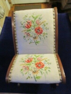 Vintage Wooden Child or Doll Rocking Chair with Floral Needlepoint Upholstery  F